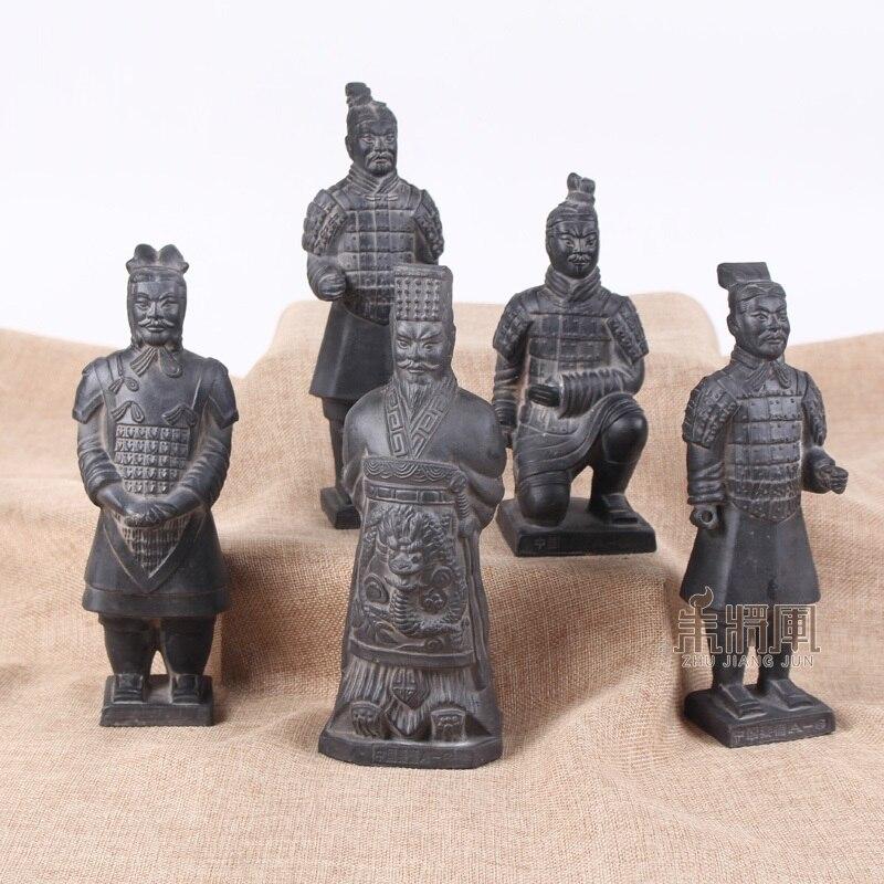 29cm guerreiros do exército de terracota ornamento artesanato estatueta cerâmica decoração para casa dinastia qin soldado escultura estilo chinês presente r4293