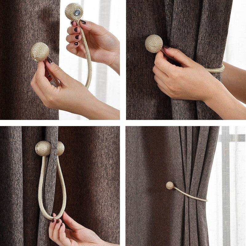 Hebilla magnética para cortina, cuerda de bola de perla magnética con accesorios para cortina, accesorios textiles para el hogar, cordón magnético