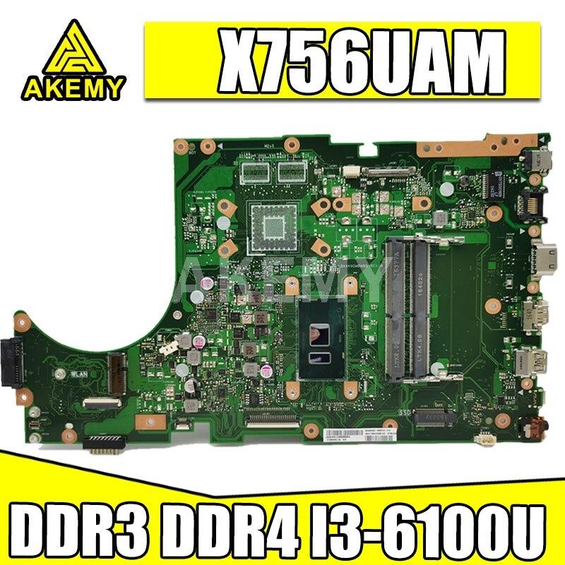 ل ASUS X756UAM X756UAK X756UA اللوحة الرئيسية اللوحة الأم i3 وحدة المعالجة المركزية GMA GPU DDR3 90NB0A00-R00040
