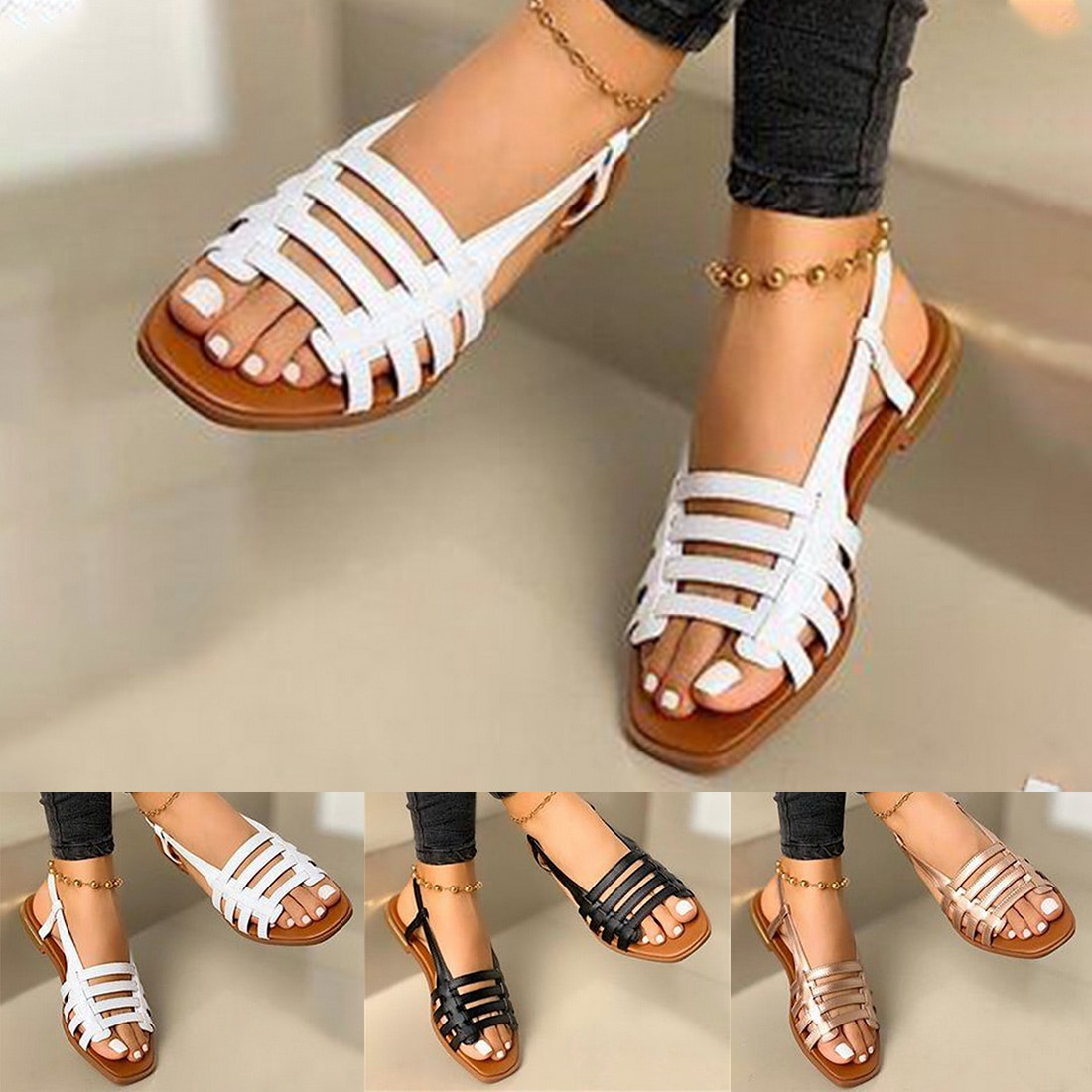 Flat Sandals Ladies Summer Outdoor Fashion Leather Shoes Round Toe Elegent Slipper Adjustable Buckle Strap Casual