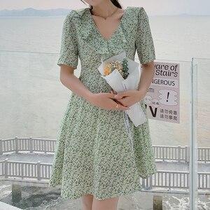 Green Floral Dresses Ladies Summer Midi Thin Sweet Fairy Fashion Cotton Elegant Chiffon Dress Party Necessary Women's Clothing