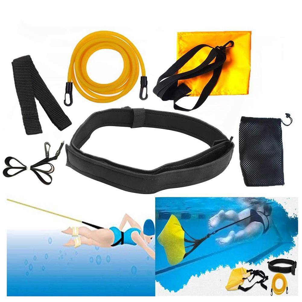 3M Yellow Tube Swim Training Belt Set Swim Training Leash Swim Tether Stationary Swimming Swim Harness Static Swimming Belt Set