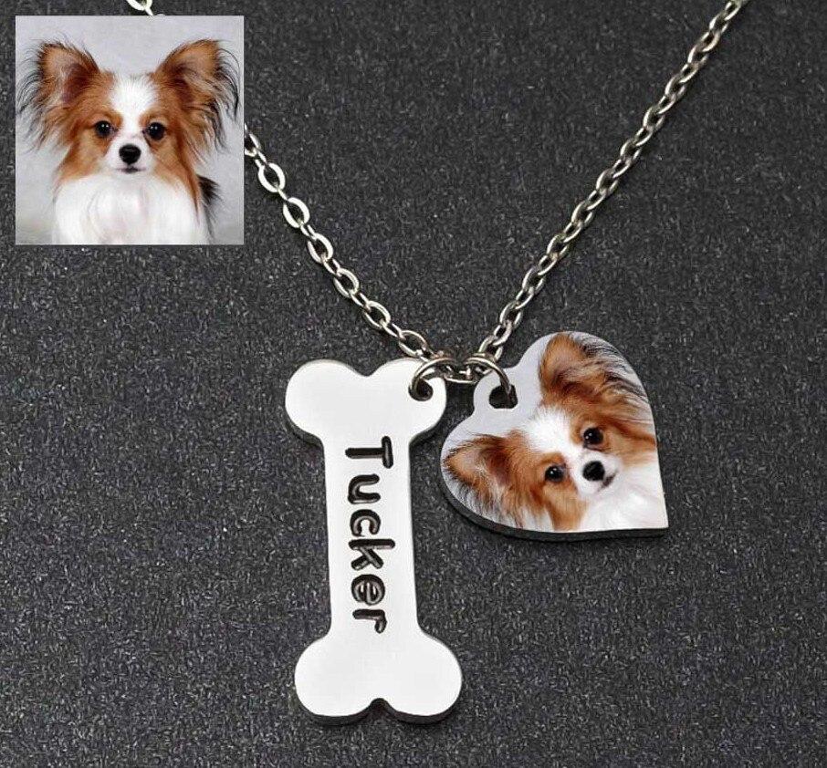 Фото на заказ, ожерелье, персонализированное ожерелье с фото на заказ, бижутерия с именем питомца/кошки/собаки, памятный подарок, подарок дл...