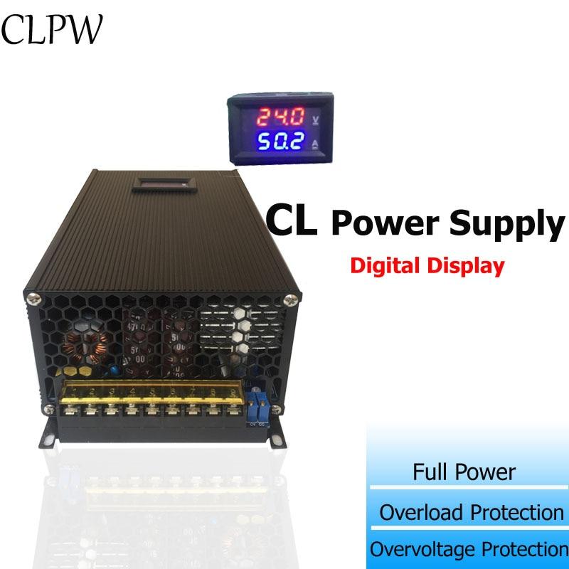 Fuente de alimentación conmutada de salida única pantalla digital 24v DC 48v 55v 1200W para control de la industria de dispositivos médicos con batería de litio