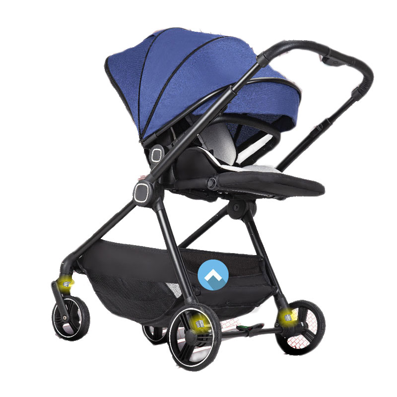 Baby Carriage Four Wheels Baby Stroller Infant Baby Cart Portable Travel Baby Bassinet Can Sit Lie Reversible Push Wheelchair enlarge