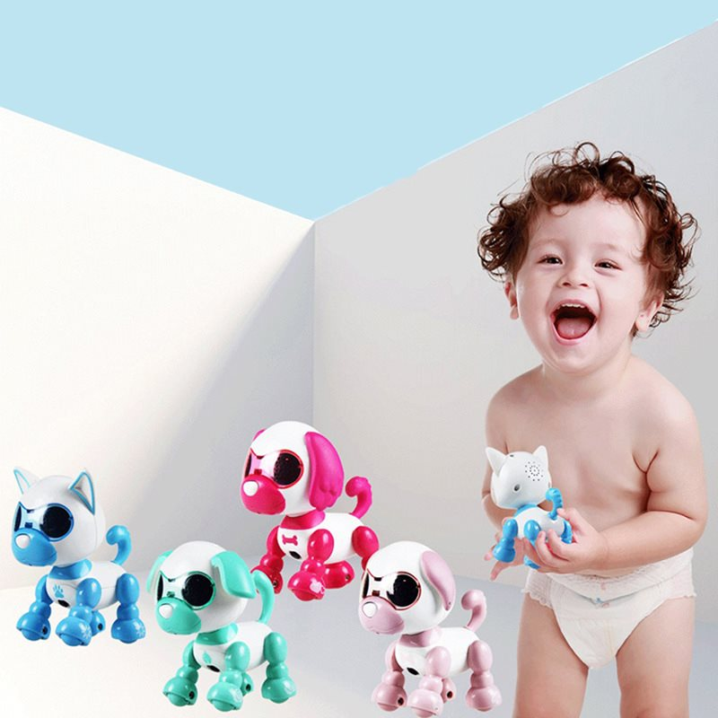 Mini Perro robot electrónico con ojos LED, máquina de sonido inteligente para caminar, cachorros de compañía, juguetes de dibujos animados, máquina de juguetes para niños