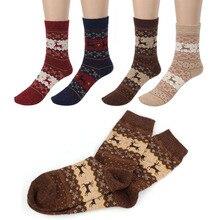 Unisex bonito natal meia veados design casual malha lã meias inverno quente calcetines masculino para presente de natal