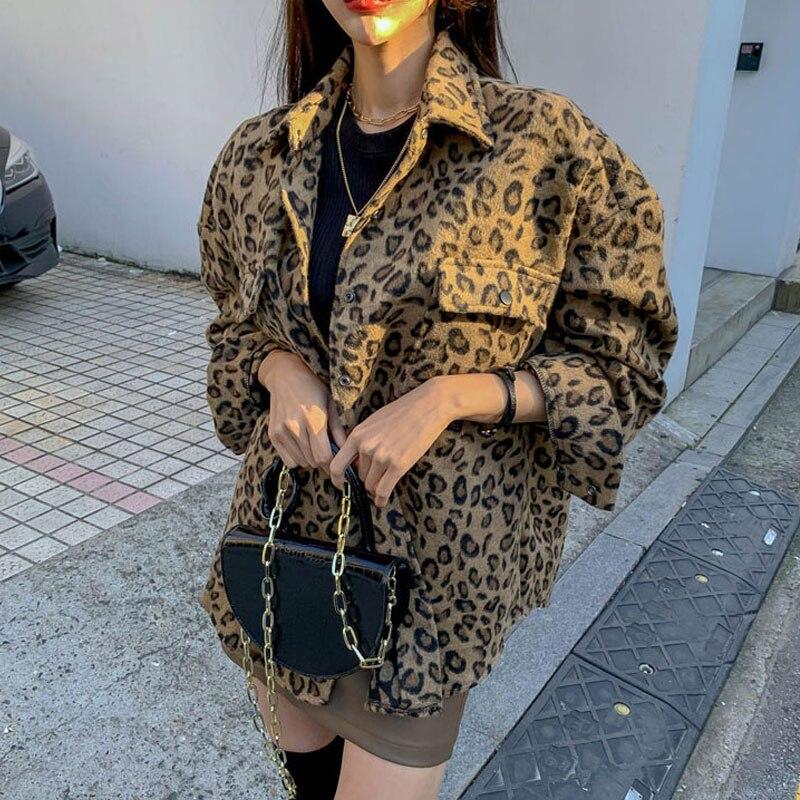 Primavera 2020 chaqueta de leopardo vintage de talla grande Casual leopardo Mujer abrigo invierno Tops para mujer ropa elegante lana prendas de vestir QT17