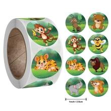 50-500 stücke zoo Tiere cartoon Aufkleber für kinder klassisches spielzeug aufkleber schule lehrer belohnung aufkleber 8 designs muster tiger