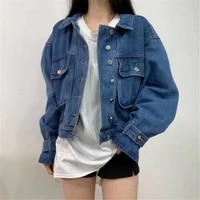 autumn women denim jacket new casual blue single breasted jackets female washed vintage long sleeve winter loose coats