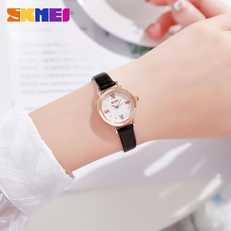 SKMEI Elegant Slim Women Quartz Watches Fashion Rhinestone Womens Wristwatch Textured Design Leather Strap Lady Girls Watch 1769 enlarge