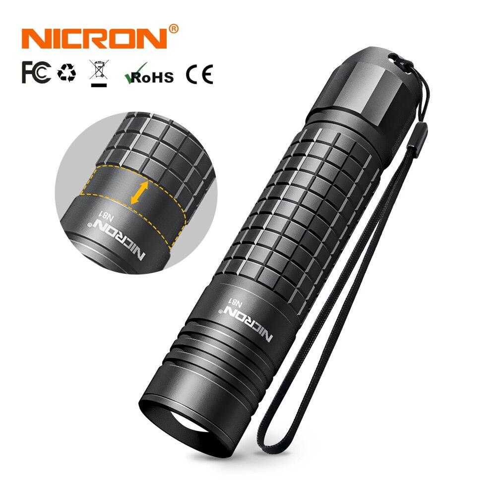 NICRON Zoomable светодиодный светильник-вспышка с двойным топливом 18650/AA батарея 700LM IPX4 водонепроницаемый 5 режимов для езды на открытом воздухе светодиодный фонарь светильник N81