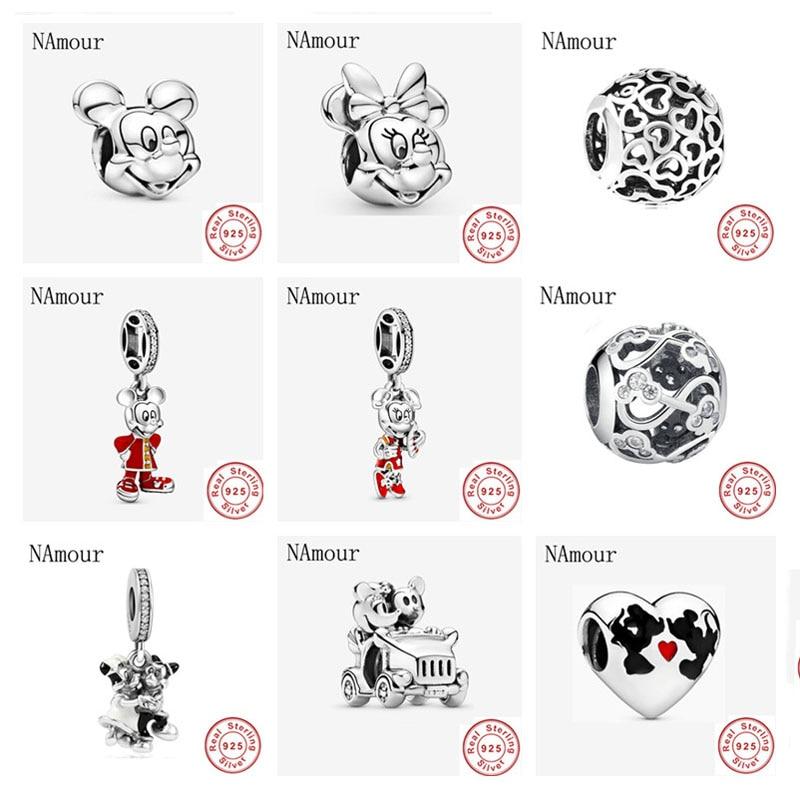 New free shipping mickey minnie love couple DIY Beads Fit Original Pandora charms silver 925 Bracelet Bead Jewelry making