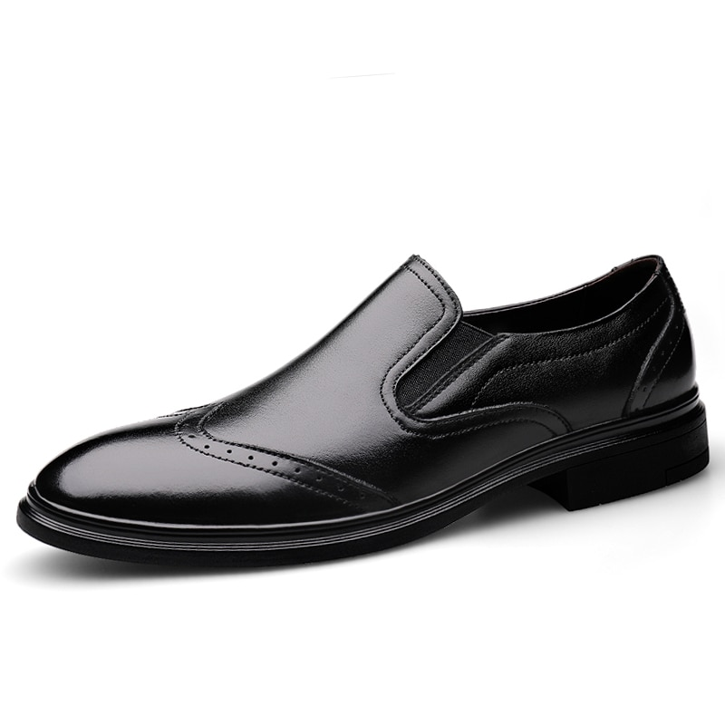 Brogues style Dress shoes men classic Black formal oxford Business Genuine leather office