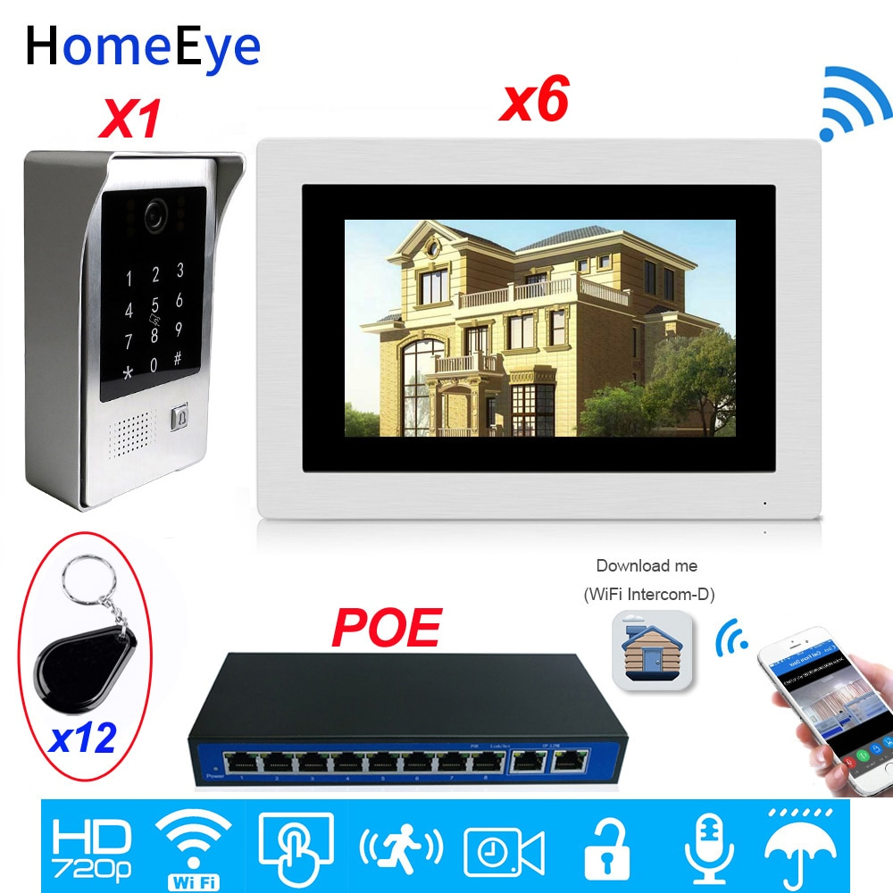 WiFi Video Door Phone IP Video Intercom App Remote Unlock Motion Detection Code Keypad+IC Card 1 to 6 Access Control System POE