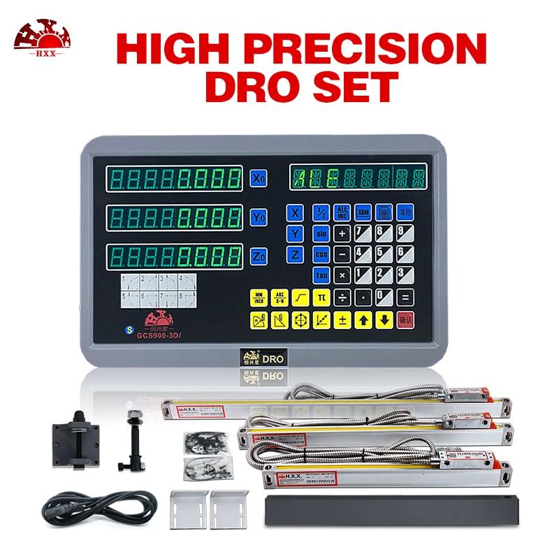 3 axis DRO kit gcs900-3d digital readout with 3pcs linear scales/encoder/sensor 5um for Lathe Milling machine