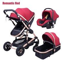 Wózek dziecięcy High landscape noworodek moda 3 w 1 luksusowy wózek dwukierunkowy lekki składany wózek dziecięcy z siedzeniem samochodowym