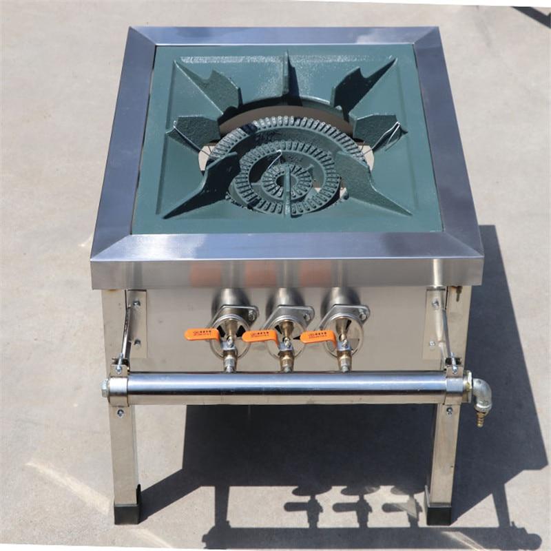Cooktop comercial de aço inoxidável, duplo, com fogão único, equipamento de cozinha a gás liquefeito, economia de energia