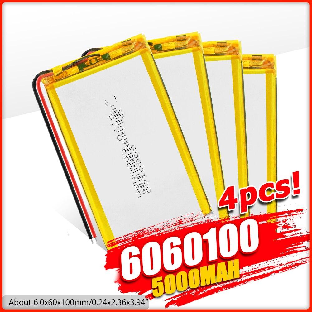 1/2/4x Li Po baterías de iones de litio, batería de polímero de litio 3 7 V Lipo Ion-litio recargable, ion de litio 6060100 5000mAh, batería de reemplazo