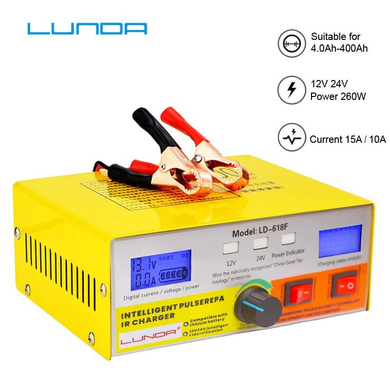 Alta Potencia 12V/24V 400Ah automático inteligente pulso reparación universal batería de litio puro cobre cargador pantalla Dual