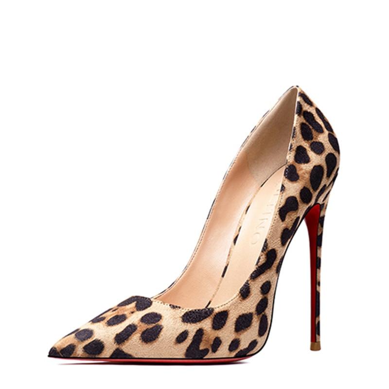 موضة ليوبارد مثير مضخات النساء أحذية الربيع عالية الكعب خنجر الأحمر الوحيد أحذية السيدات الهدايا فتاة الكعوب أحذية نسائية