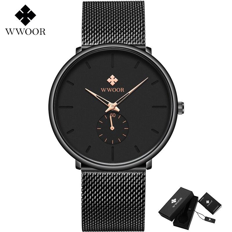 Montre Homme WWOOR Men Sport Watch Luxury Brand Men's Ultra thin Simple Quartz Clock Male Mesh Band Waterproof Wrist Watch Black