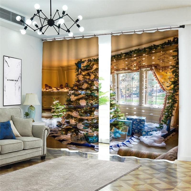 Cortinas 3D hermosas Cortinas para sala de estar dormitorio Blackout 3D ventana cortina Navidad Hotel Cortinas