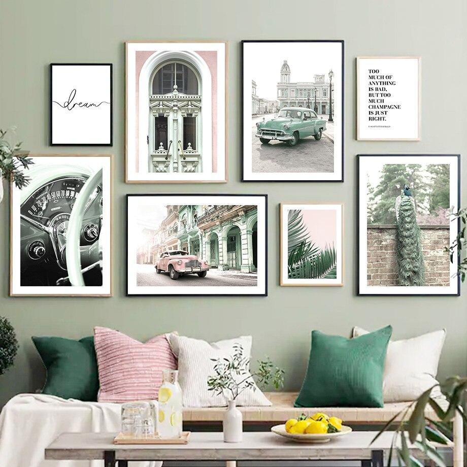 Винтажное здание автомобиля Павлин Пальма стена искусство холст живопись скандинавские плакаты и принты стены картины для гостиной Декор