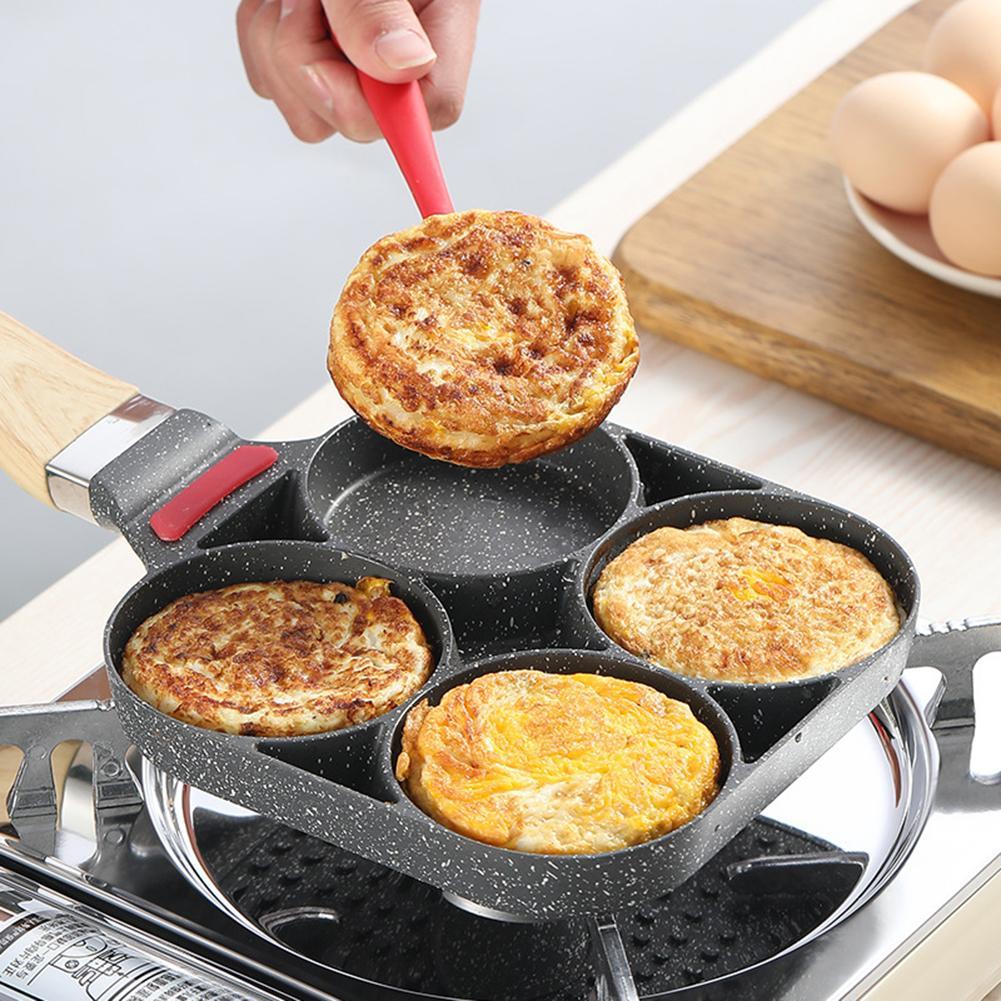 أربعة حفرة مقلاة عموم سميكة عجة عموم غير عصا البيض فطيرة ستيك عموم الطبخ البيض لحم الخنزير المقالي الإفطار صانع تجهيزات المطابخ