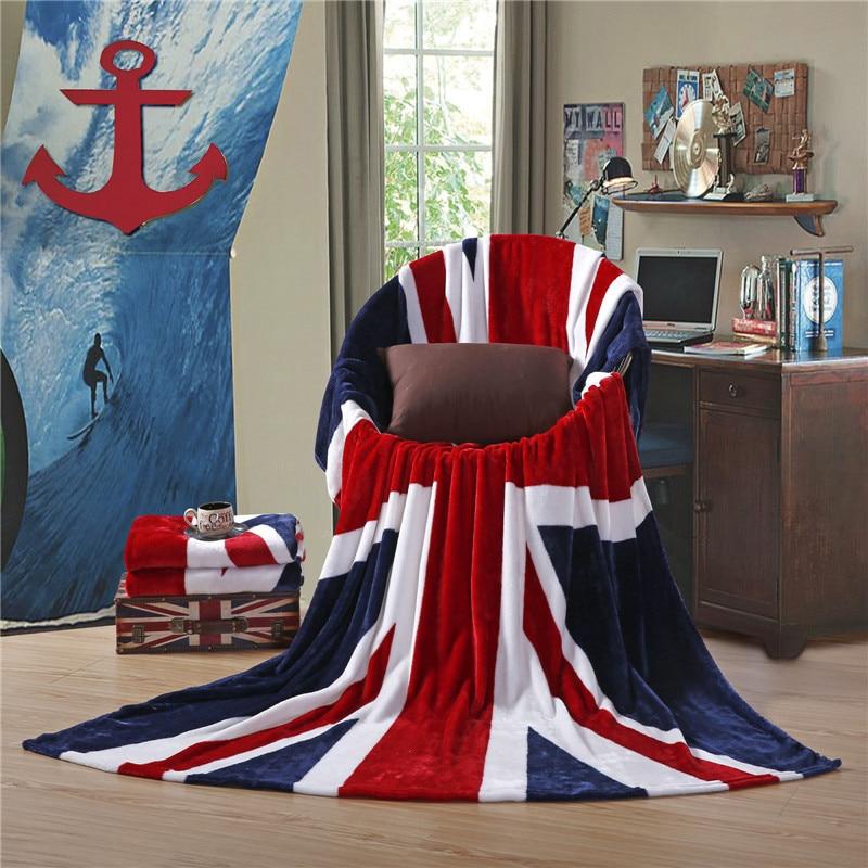150x200cm New Union Jack British UK Flag Coral Fleece Blanket USA Flag TV Blanket on Bed Sofa Car Throw Home Travel Blankets