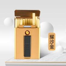 Caja de cigarrillos Medium con encendedor USB para 6mm Medium Men Cigarette Hold 14 Uds Cigarette 85s DH9011
