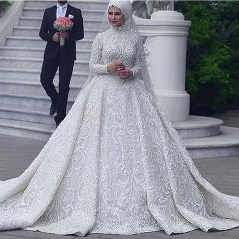 luxury long tail satin red bling ball gown wedding dresses newest sexy designer bridal wedding gowns with sleeves White Muslim Wedding Dresses Ball Gown Appliques With Hijab Long Sleeves High Neck Bridal Gowns