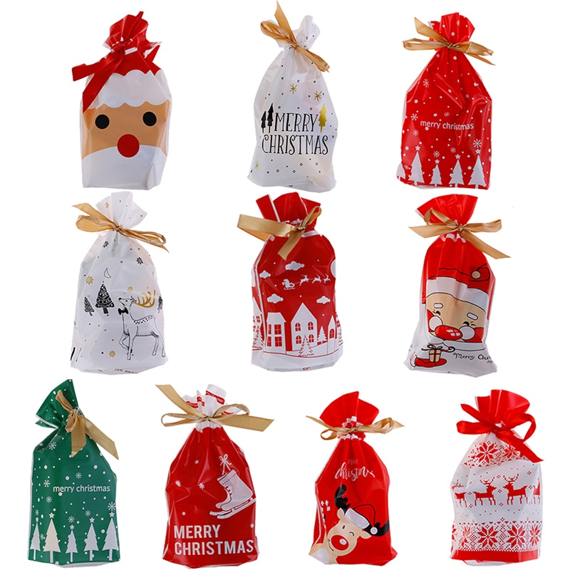 10 Uds. Bolsas doradas de Regalo de árbol de Navidad, Bolsas de...