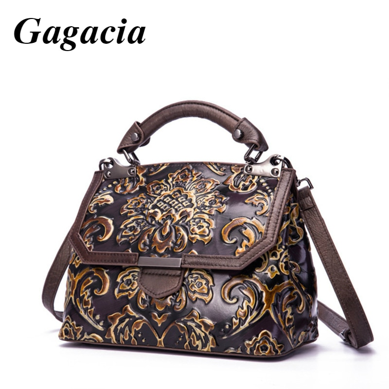 GAGACIA Genuine Leather Luxury Handbags Women's Bag Handmade Women Shoulder Bags New Embossed Vintage Crossbody Bags For Women