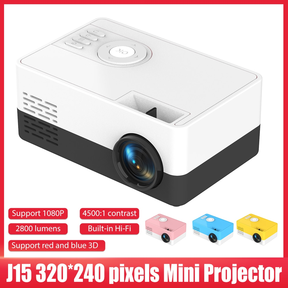 جهاز عرض صغير 320x240 بكسل دعم 1080P USB المحمولة العارض المنزل الاطفال HDMI متوافق مشغل الوسائط لحزب التخييم