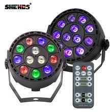 Control remoto inalámbrico RGBW 12x3W UV Disco Wash Flat Light equipo 8 canales DMX 512 LED Uplight etapa iluminación efecto luz