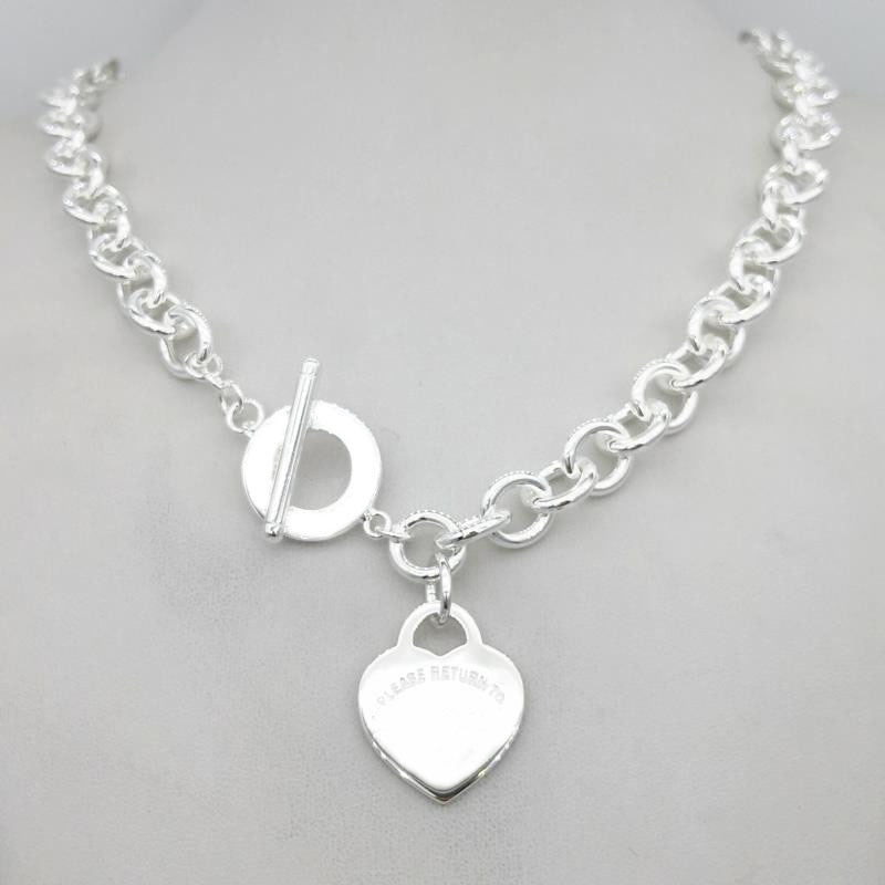 Get Sterling silver 925 classic fashion silver heart tag pendant ladies necklace jewelry holiday gift