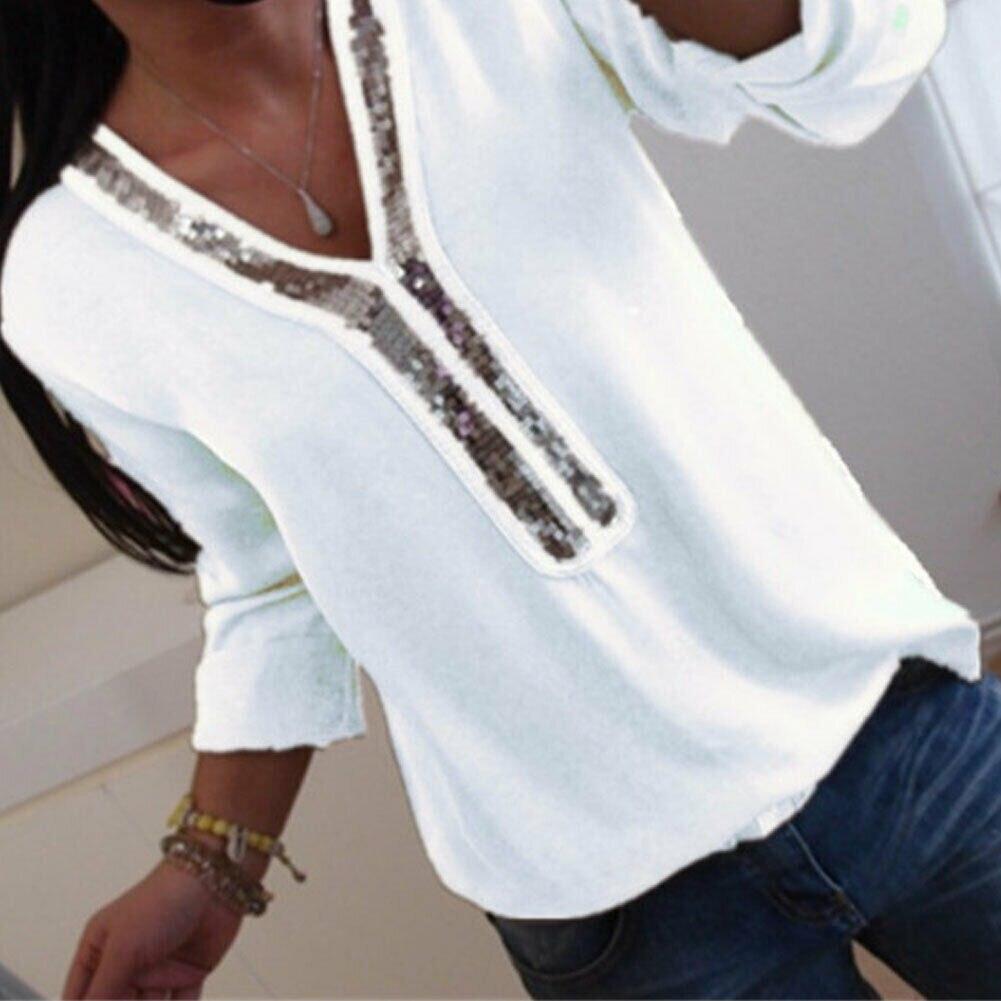 Blusa holgada Casual de verano de manga corta con cuello en V para mujer de talla grande