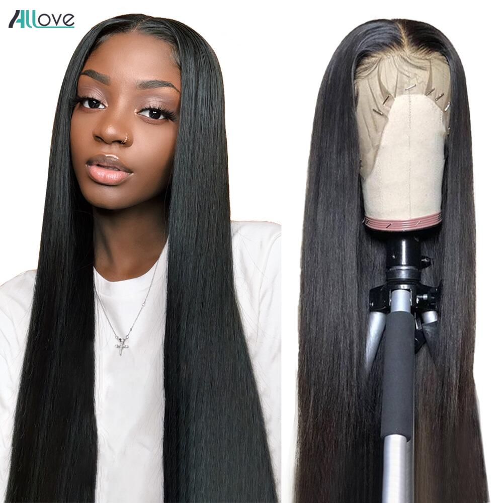 Allove HD Transparent Lace Front Human Hair Wigs For Women 30 inch Bone Straight Lace Front Wig 13x4 13x6 HD Lace Frontal Wig