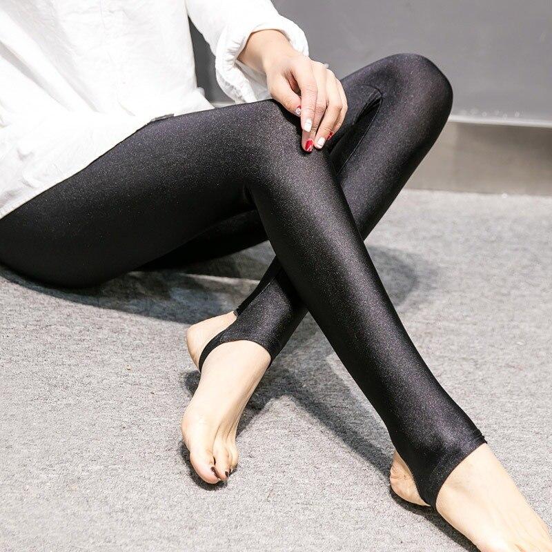 2019 Moda Feminina Brilhante Leggings de Comprimento No Tornozelo Fino Preto Leggings Stretchy Leggings de Cintura Alta De Cetim Básico