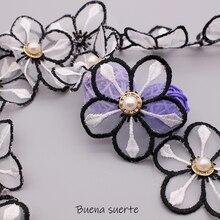 1 stocznia czarna biała perła stokrotki kwiat z kryształkiem haftowana tkanina ze wstążką z koronkowym wykończeniem ręcznie robiona sukienka do samodzielnego wykonania materiały krawieckie rzemiosło