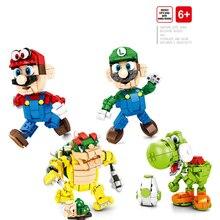 MOC brickheadz-briques de construction de Mario Bowser Luigi Yoshi, Collection de figurines de dessin animé