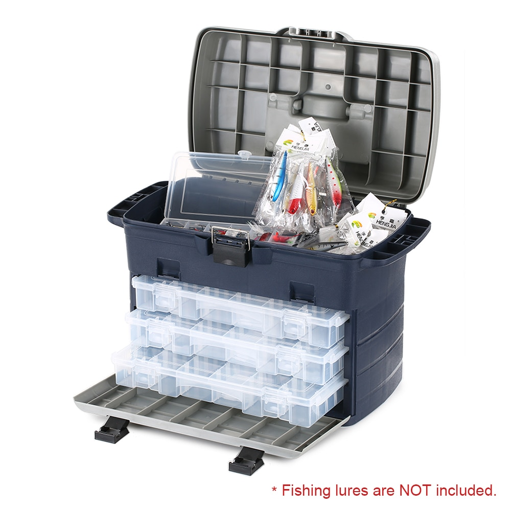Lixada Spacious Fishing Tackle Box Lures Baits Accessory Sea Boat Fishing Box Case with Three Trays enlarge
