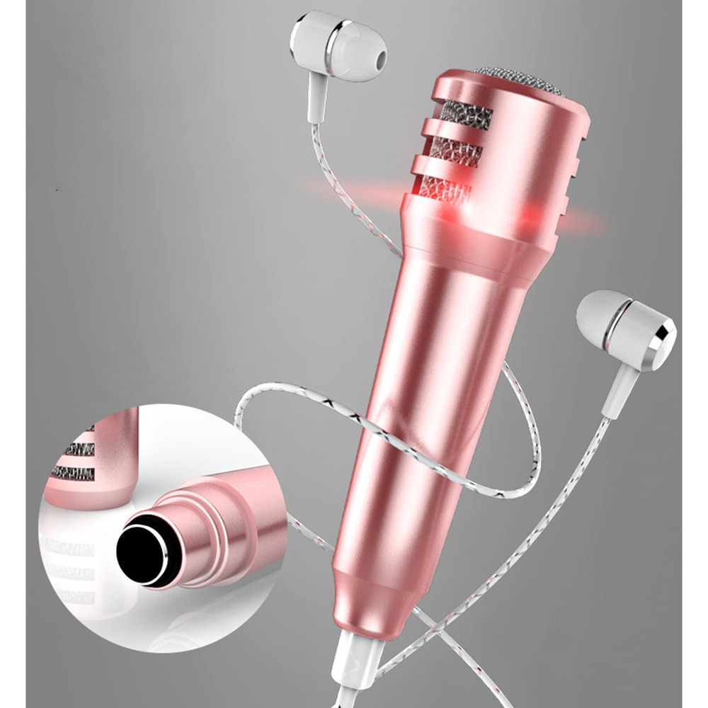 Mini telefone ao vivo universal com fio 3.5mm microfone pequeno mini trigo fone de ouvido in-ear para tik tok crianças acessórios para gir
