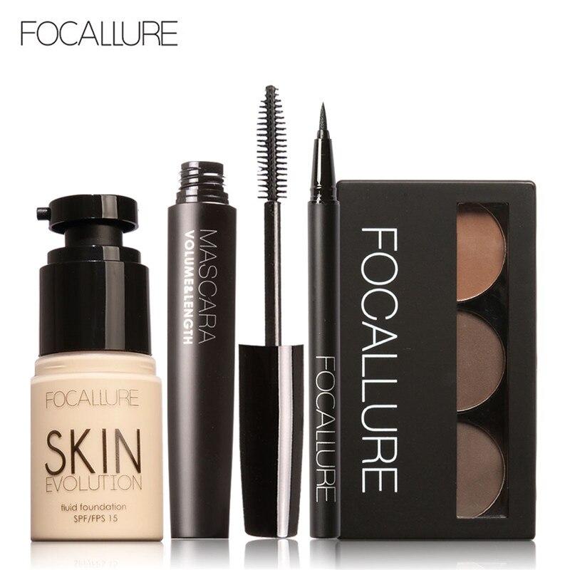 Kit de herramientas de maquillaje FOCALLURE 4 Uds. Debe tener cosméticos, incluyendo máscara de base, delineador de ojos, juego de maquillaje para cejas