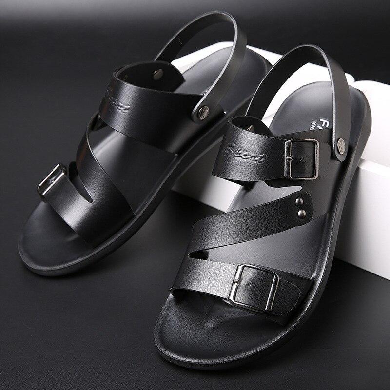 صنادل رجالي جلد الرجال أحذية الصيف 2021 صنادل شاطئ مسطحة الذكور أحذية من الجلد الأسود