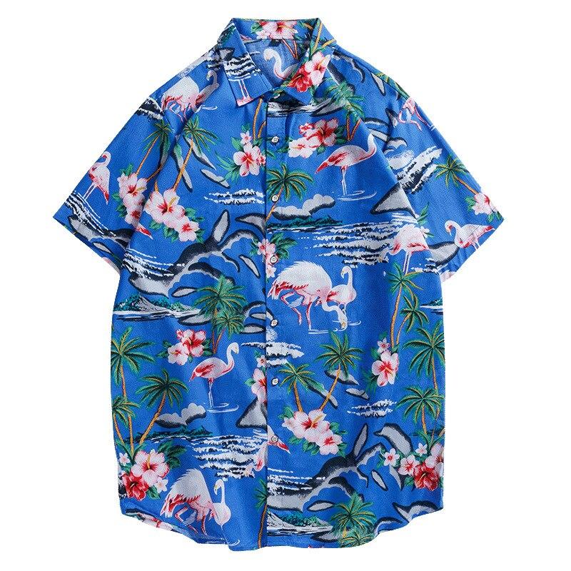 Neue Stil Gedruckt Kurzarm Shirt männer Casual Plus-größe Lose-Fit Strand Hawaii Männer Tragen Hemd