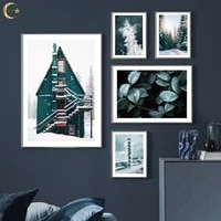 winter snow landscape canvas painting deer pine forest plant house pictures nordic poster wall art print home decoration