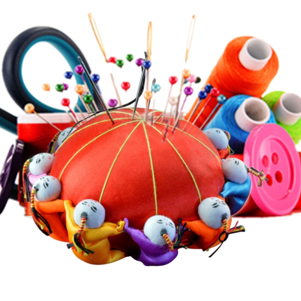 10cm artesanía bricolaje herramienta de almacenamiento en habitación titular de Base con 10 muñecas aguja de punto de cruz de cojín bordado
