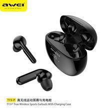 AWEI LED affichage Bluetooth casque HiFi stéréo Surround son écouteurs sans fil jeu écouteur TWS Noice annulation casque